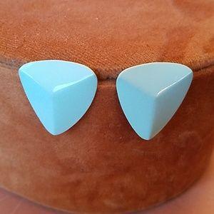 Retro 80s light blue metal earrings